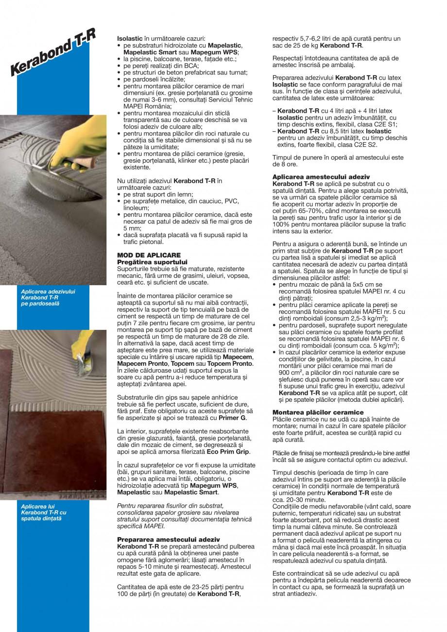 Pagina 2 - Adeziv pe baza de ciment pentru placi ceramice MAPEI KERABOND T-R Fisa tehnica Romana...