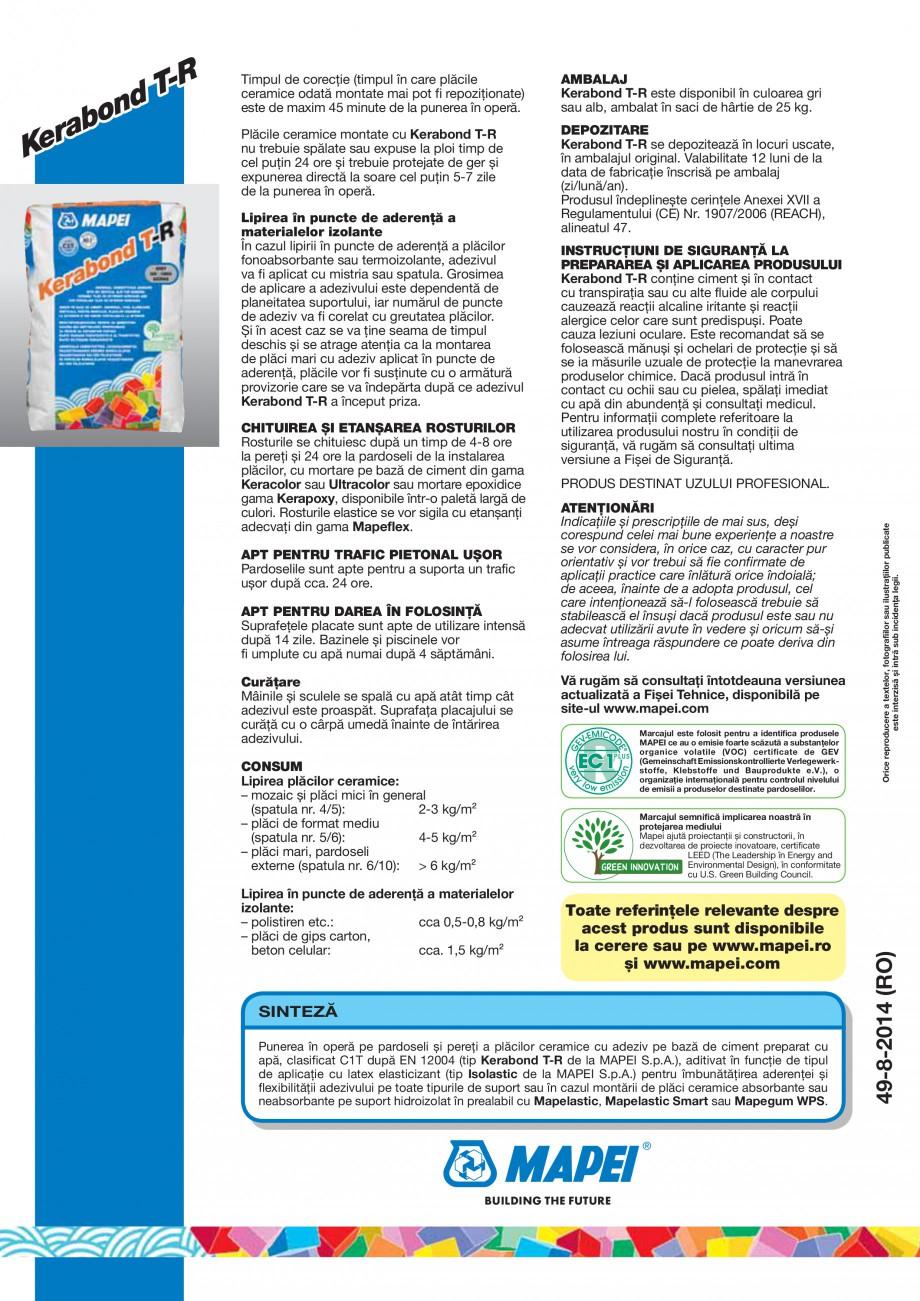 Pagina 4 - Adeziv pe baza de ciment pentru placi ceramice MAPEI KERABOND T-R Fisa tehnica Romana ic ...