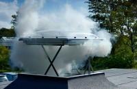 Ferestre de evacuare fum pentru acoperis terasa Fereastra pentru evacuare fum pentru acoperis terasa - VELUX CSP. Toc si cercevea din PVC alb. Fereastra este actionata electric, avand motor incorporat
