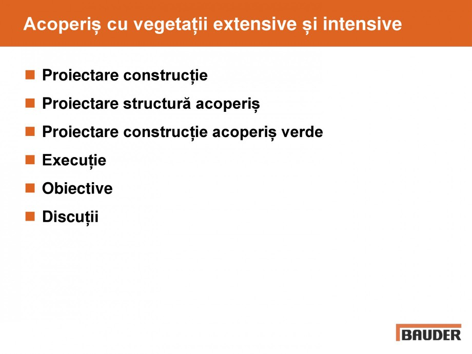 Pagina 2 - Acoperis cu vegetatii extensive si intensive   BAUDER Catalog, brosura Romana g/m²  Voal...