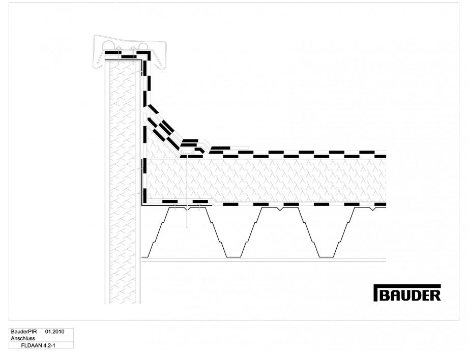 Pagina 1 - CAD-DWG Termoizolatie din spuma poliuretanica - Racord la atic 1 BAUDER Detaliu de montaj...