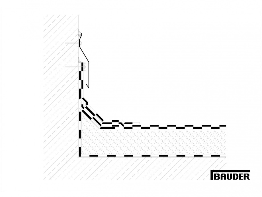 Pagina 1 - CAD-DWG Termoizolatie din spuma poliuretanica - Racord la perete 2 BAUDER Detaliu de...