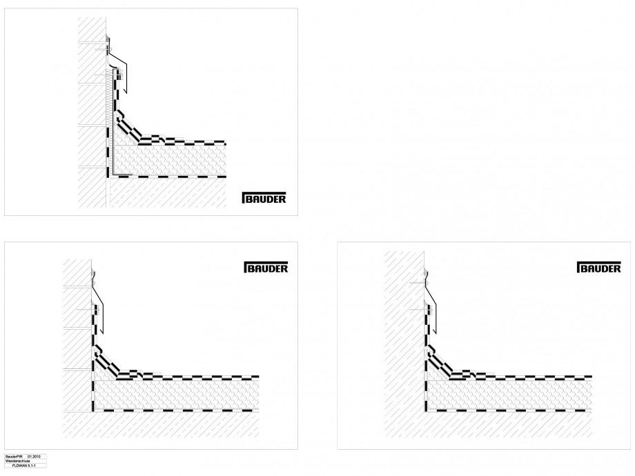 Pagina 1 - CAD-DWG Termoizolatie din spuma poliuretanica - Racord la perete 1 BAUDER Detaliu de...