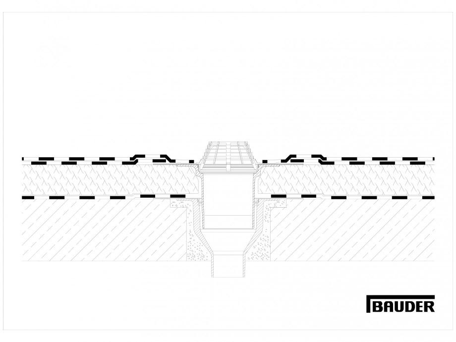 Pagina 1 - CAD-DWG Termoizolatie din spuma poliuretanica - Racord la rigola BAUDER Detaliu de montaj...