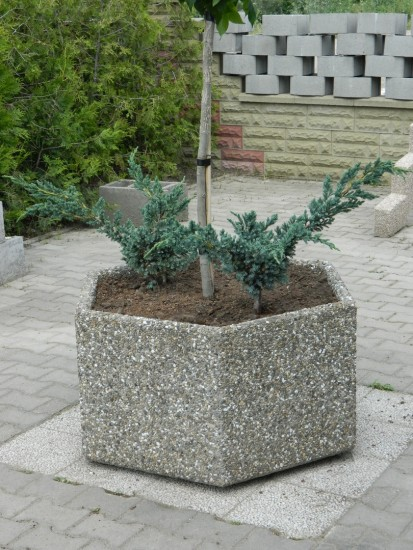 Jardiniere/ghivece / Jardiniera hexagon gri