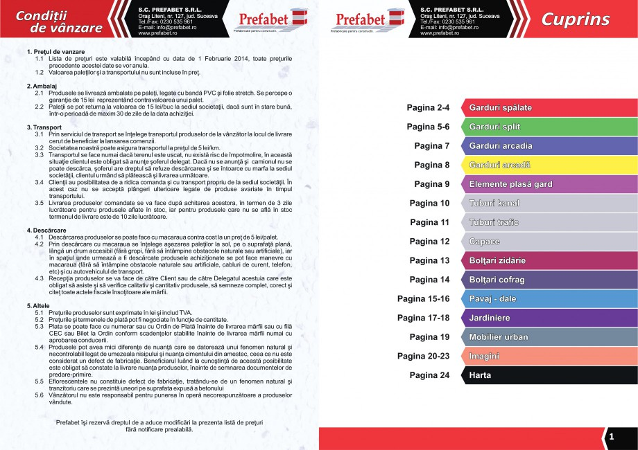 Catalog, brosura Prefabricate din beton pentru constructii Banci, Cos de gunoi, Bolarzi Prefabet Mobilier urban PREFABET SUCEAVA  - Pagina 2