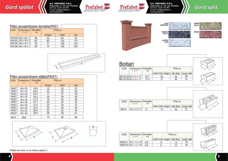 Catalog, brosura Prefabricate din beton pentru constructii Banci, Cos de gunoi, Bolarzi Prefabet Mobilier urban PREFABET SUCEAVA  - Pagina 4