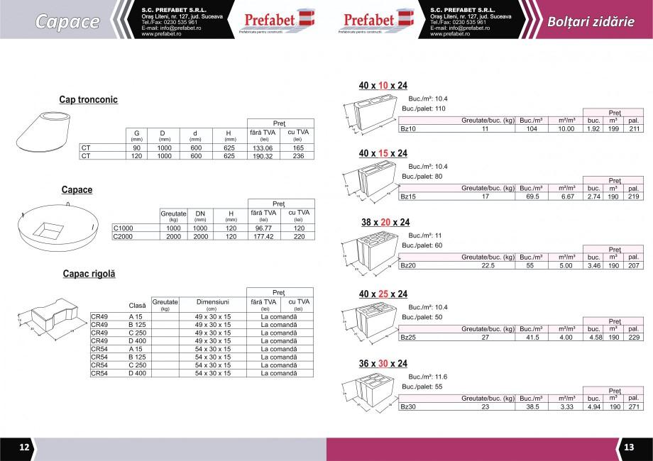 Catalog, brosura Prefabricate din beton pentru constructii Banci, Cos de gunoi, Bolarzi Prefabet Mobilier urban PREFABET SUCEAVA  - Pagina 8