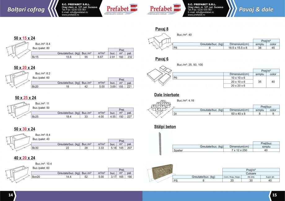 Catalog, brosura Prefabricate din beton pentru constructii Banci, Cos de gunoi, Bolarzi Prefabet Mobilier urban PREFABET SUCEAVA  - Pagina 9