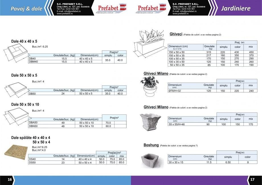 Catalog, brosura Prefabricate din beton pentru constructii Banci, Cos de gunoi, Bolarzi Prefabet Mobilier urban PREFABET SUCEAVA  - Pagina 10