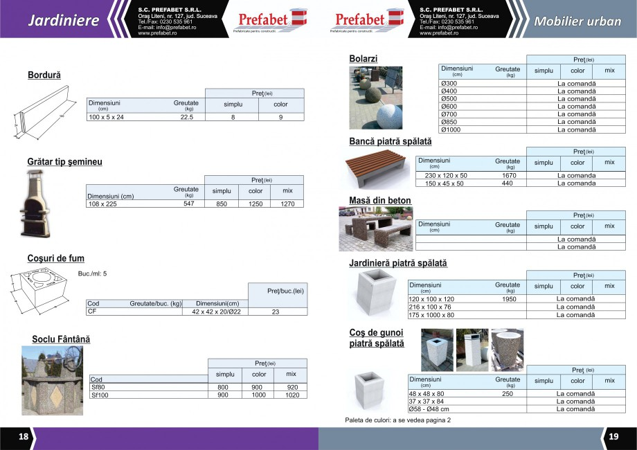 Catalog, brosura Prefabricate din beton pentru constructii Banci, Cos de gunoi, Bolarzi Prefabet Mobilier urban PREFABET SUCEAVA  - Pagina 11