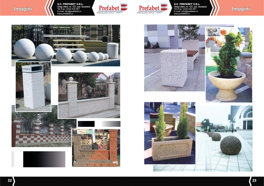 Catalog, brosura Prefabricate din beton pentru constructii Banci, Cos de gunoi, Bolarzi Prefabet Mobilier urban PREFABET SUCEAVA  - Pagina 13