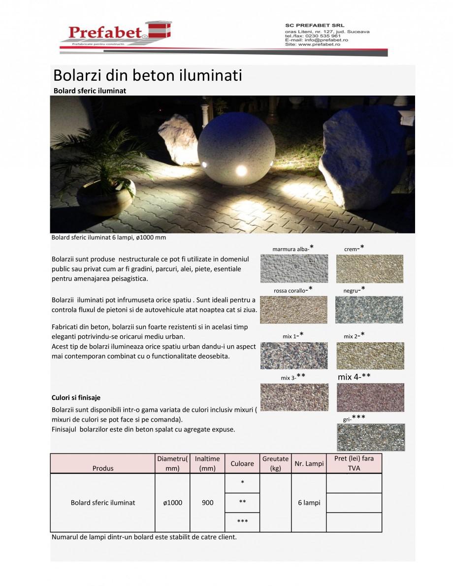 Pagina 1 - Bolarzi din beton, iluminati Prefabet Fisa tehnica Romana Bolarzi din beton iluminati...