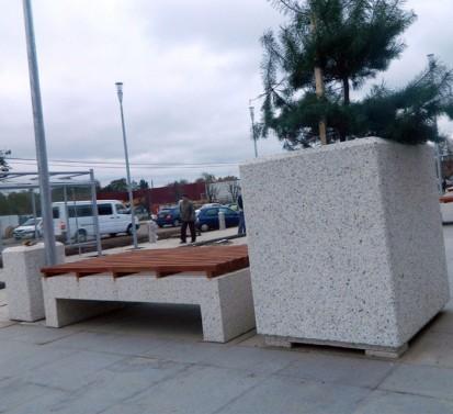Banca si jardiniera din beton Banci Mobilier urban