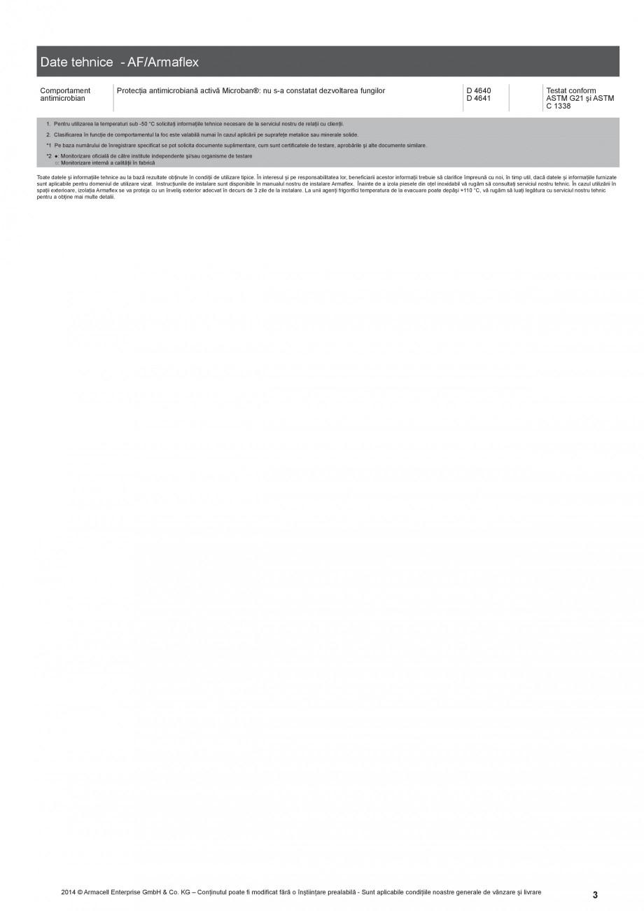 Pagina 3 - Termoizolatie din cauciuc elastomeric anticondens ARMACELL Armaflex AF Fisa tehnica...
