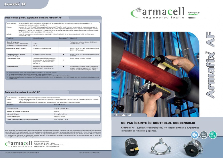 Pagina 1 - Suporturi pentru teava ARMACELL Armaflex AF Fisa tehnica Romana Date tehnice pentru...