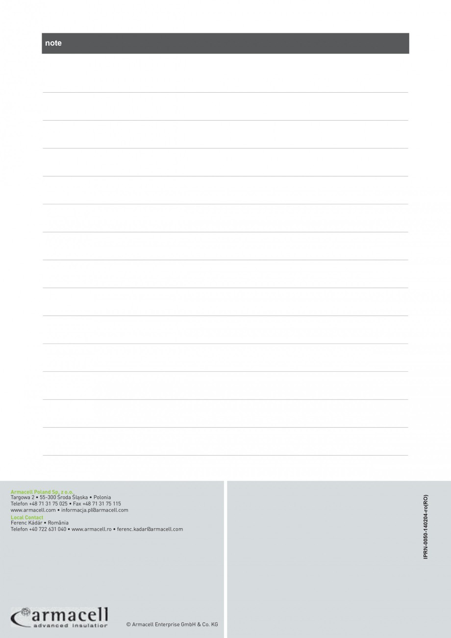 Pagina 8 - Izolatie autoadeziva din cauciuc elastomeric ARMACELL Armaflex  XG Fisa tehnica Romana   ...