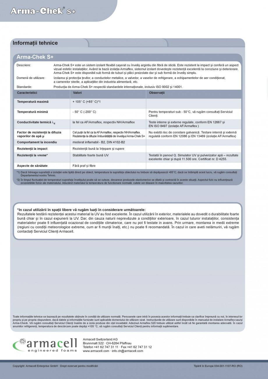 Pagina 4 - Izolatie din elastomer cu aluminiu ARMACELL Arma-Check S+ Fisa tehnica Romana 159  170...