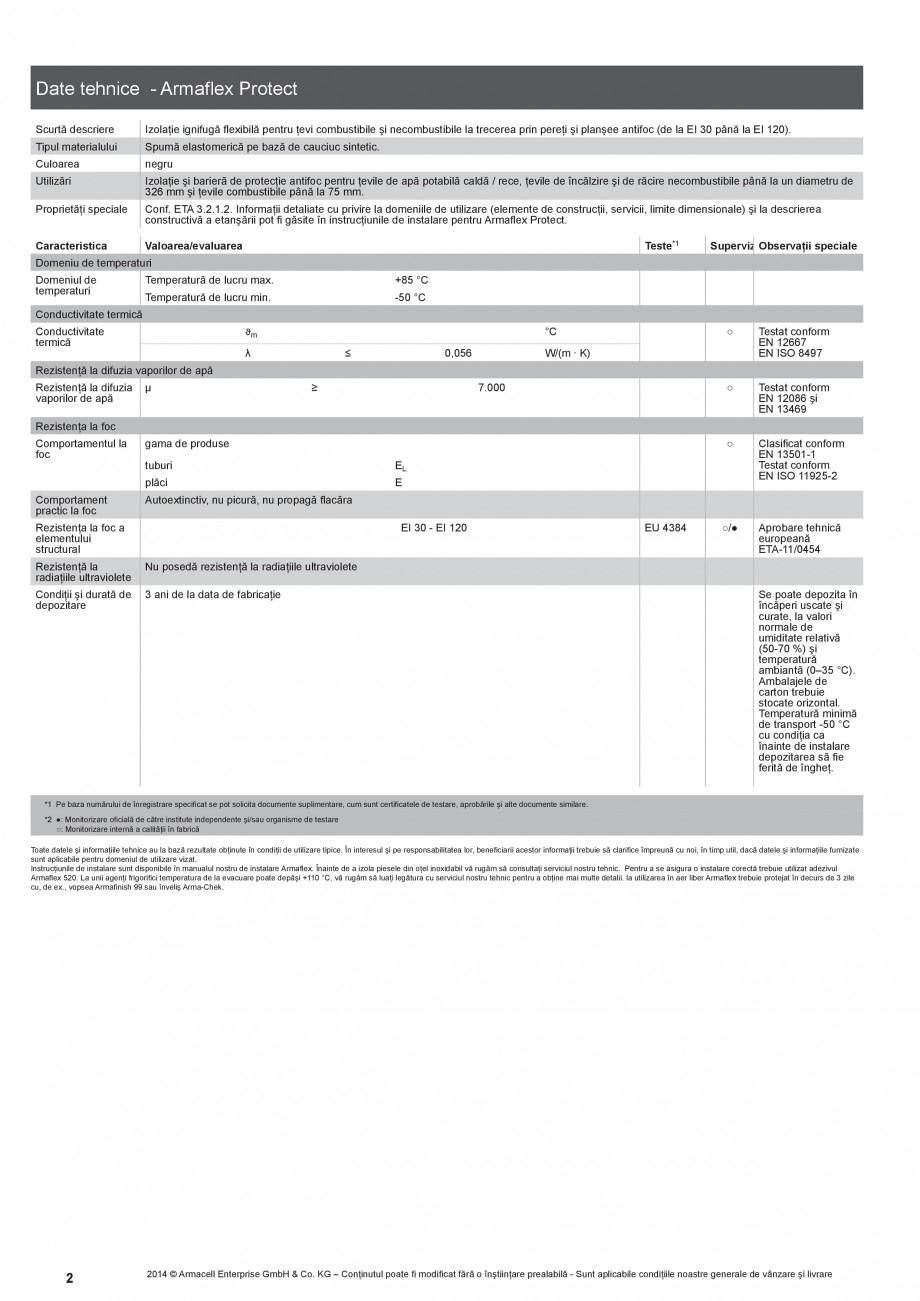 Pagina 2 - Izolatie ignifuga flexibila din spuma elastomerica ARMACELL Armaflex Protect  Fisa...