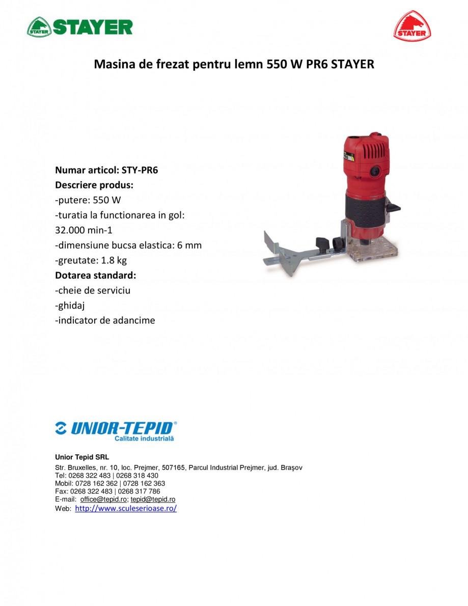 Pagina 1 - Masina de frezat pentru lemn 550 W STAYER PR6 Fisa tehnica Romana Masina de frezat pentru...