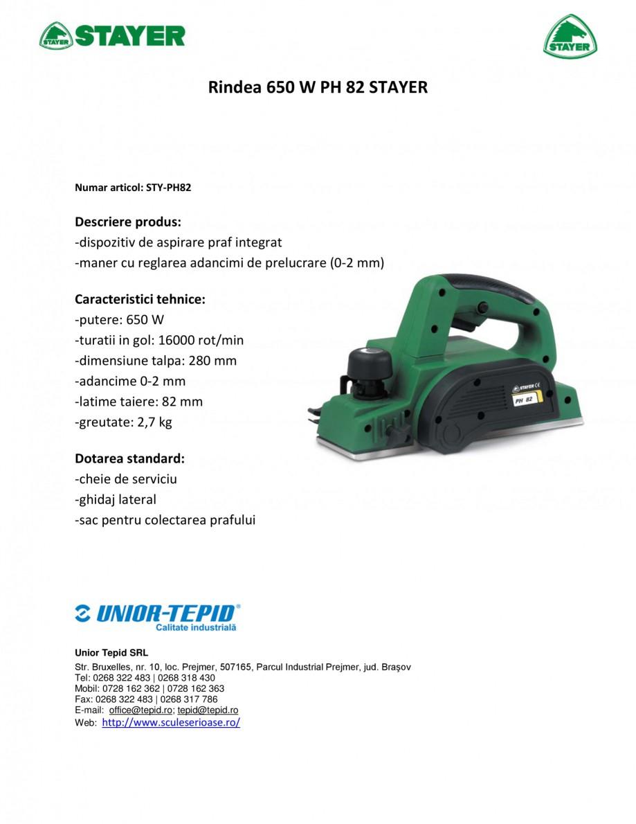Pagina 1 - Rindea electrica 650 W STAYER PH 82 Fisa tehnica Romana Rindea 650 W PH 82 STAYER  Numar ...