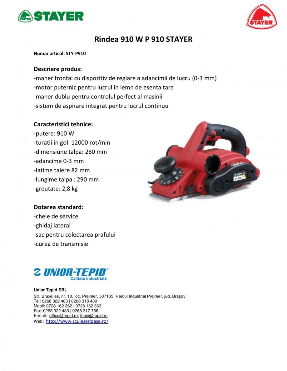 Pagina 1 - Rindea electrica 910 W STAYER P 910 Fisa tehnica Romana Rindea 910 W P 910 STAYER Numar...