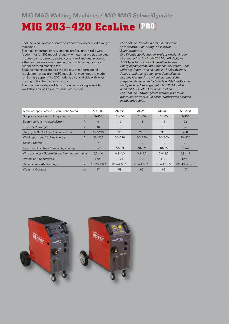 Pagina 1 - Aparate de sudura MIG Iskra VARJENJE MIG 200, MIG 200 B Catalog, brosura Engleza, Germana...
