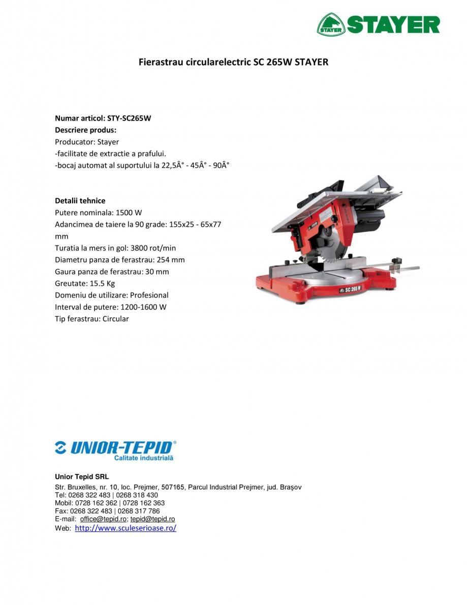 Pagina 1 - Fierastrau circular electric STAYER SC 265 W Fisa tehnica Romana Fierastrau...