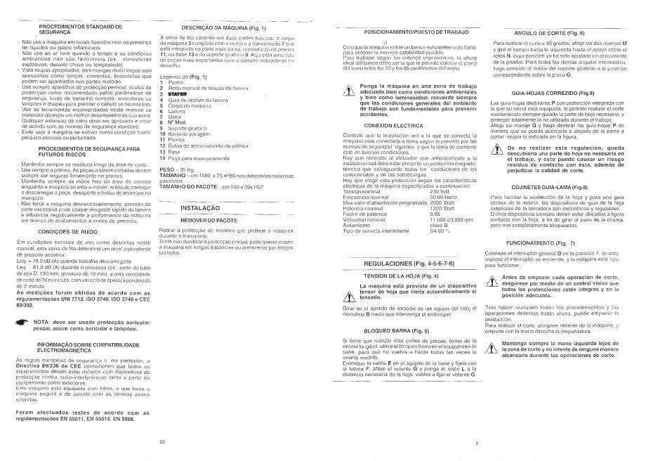 Pagina 5 - Fierastrau cu banda continua 1470x13x0.65 mm, motor prin inductie 0,5 CP - Manual STAYER ...