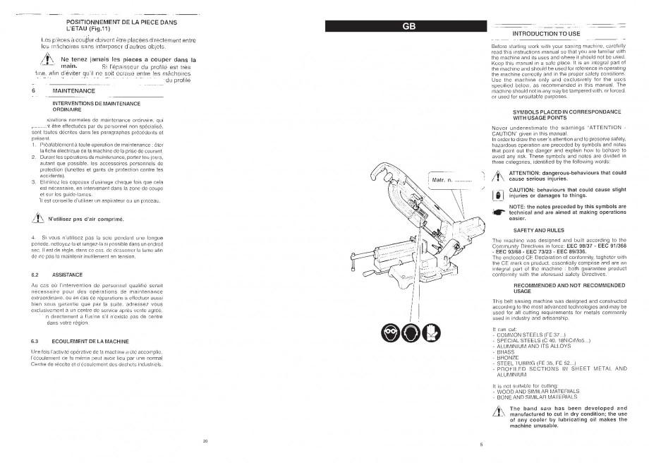 Pagina 7 - Fierastrau cu banda continua 1470x13x0.65 mm, motor prin inductie 0,5 CP - Manual STAYER ...