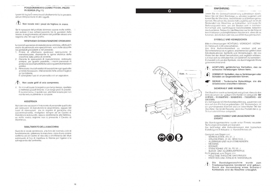 Pagina 11 - Fierastrau cu banda continua 1470x13x0.65 mm, motor prin inductie 0,5 CP - Manual STAYER...