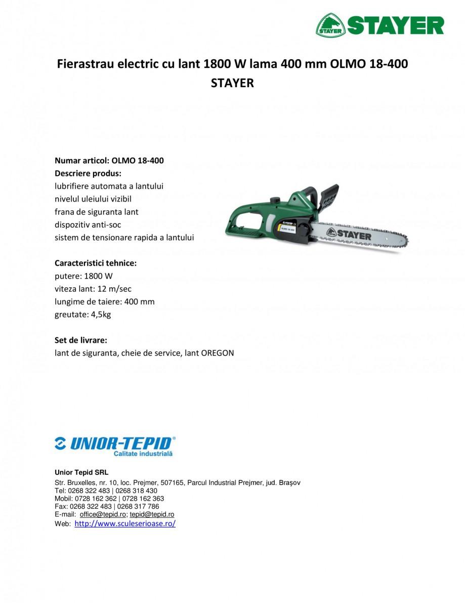 Pagina 1 - Fierastrau electric cu lant 1800 W lama 400 mm STAYER OLMO 18-400 Fisa tehnica Romana...