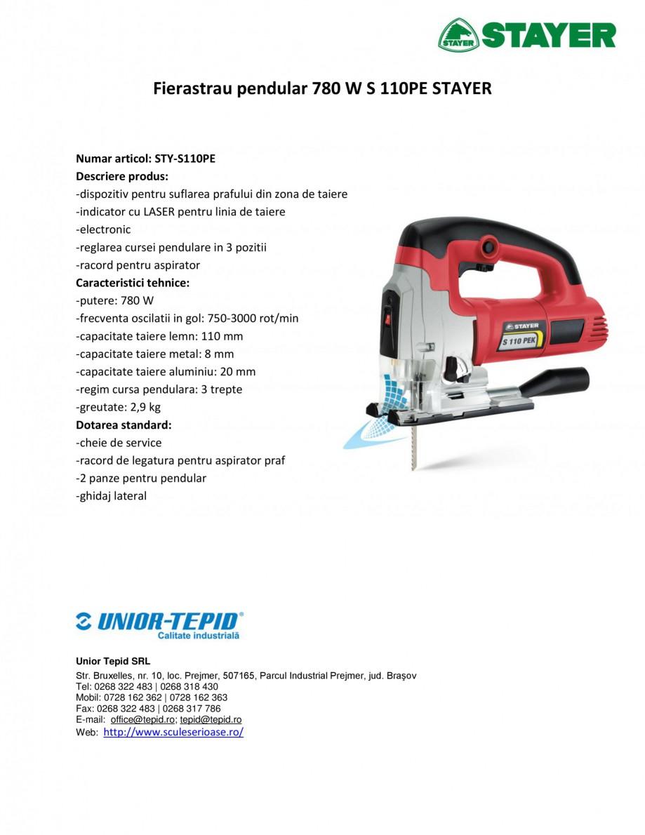 Pagina 1 - Fierastrau pendular 780 W STAYER S 110PE Fisa tehnica Romana Fierastrau pendular 780 W S ...