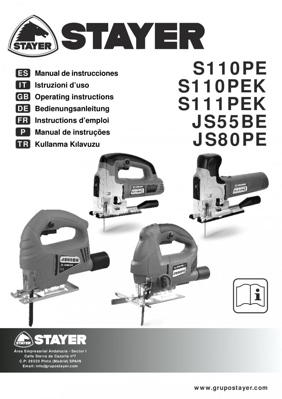 Pagina 1 - Fierastraie electrice - Manual utilizare STAYER S 110PE, JS 80 PE Instructiuni montaj,...