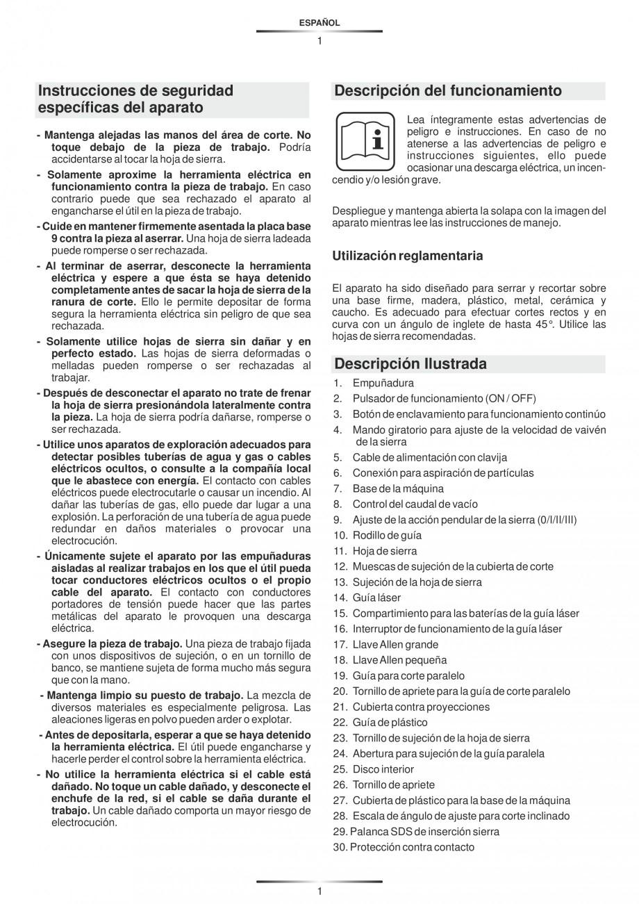 Pagina 6 - Fierastraie electrice - Manual utilizare STAYER S 110PE, JS 80 PE Instructiuni montaj,...