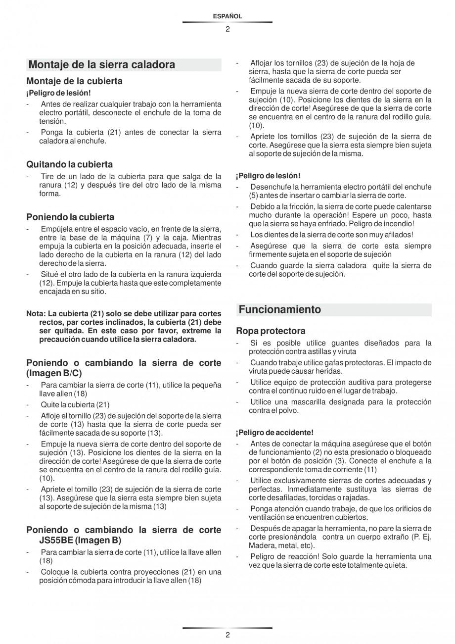 Pagina 7 - Fierastraie electrice - Manual utilizare STAYER S 110PE, JS 80 PE Instructiuni montaj,...