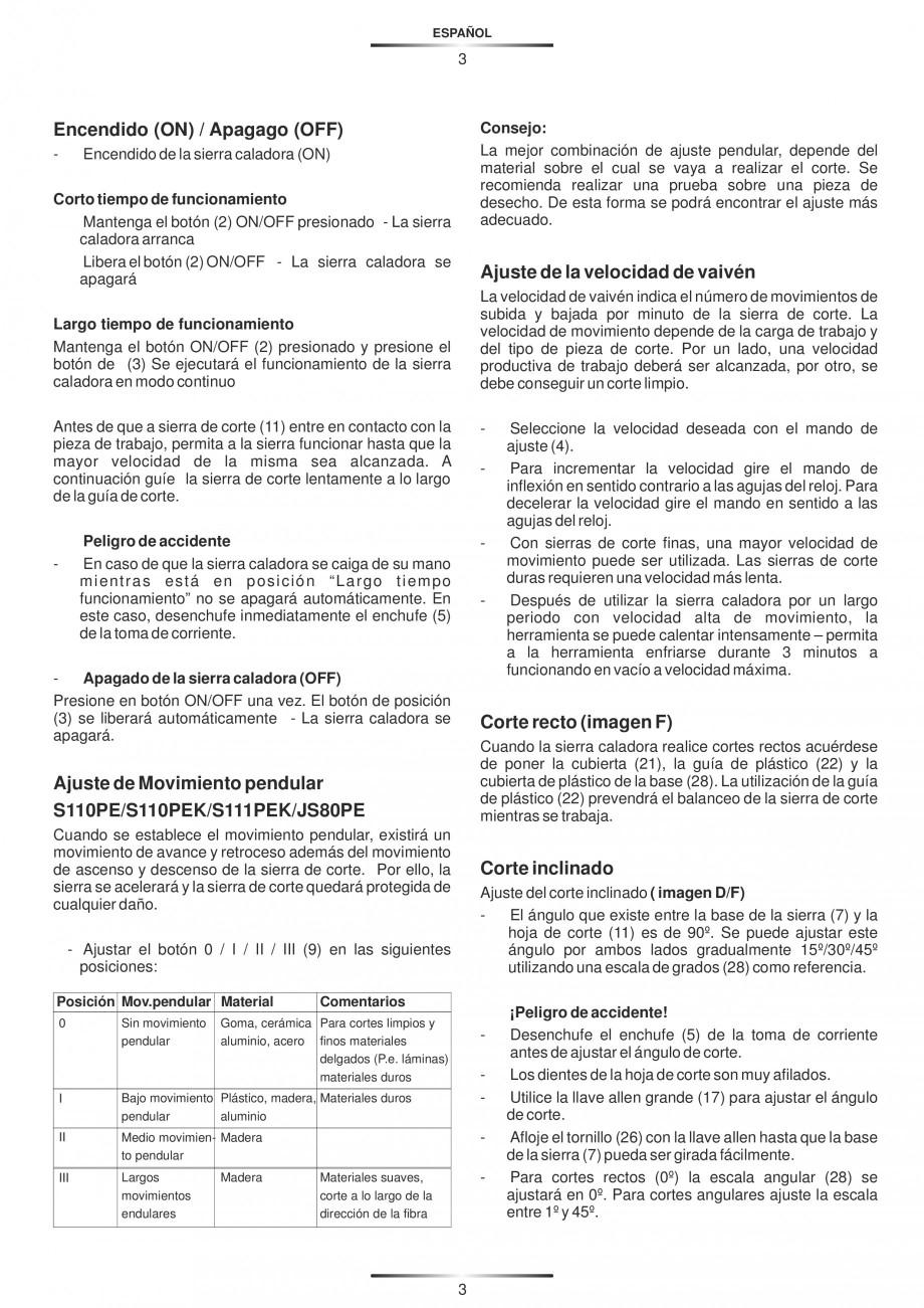 Pagina 8 - Fierastraie electrice - Manual utilizare STAYER S 110PE, JS 80 PE Instructiuni montaj,...