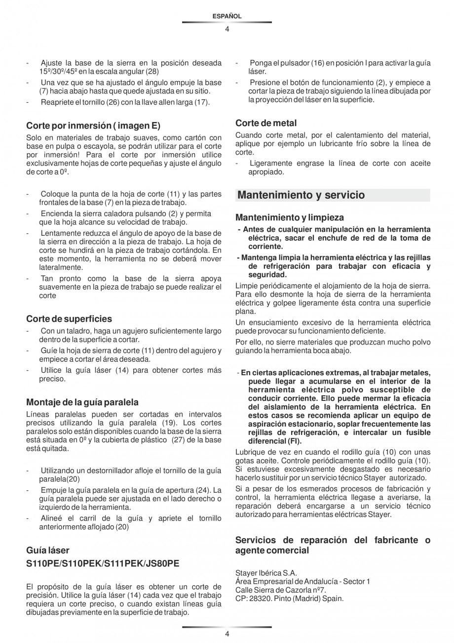 Pagina 9 - Fierastraie electrice - Manual utilizare STAYER S 110PE, JS 80 PE Instructiuni montaj,...