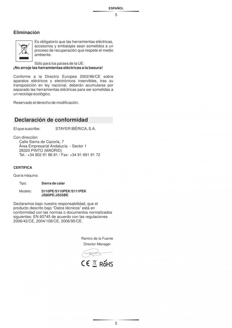 Pagina 10 - Fierastraie electrice - Manual utilizare STAYER S 110PE, JS 80 PE Instructiuni montaj,...