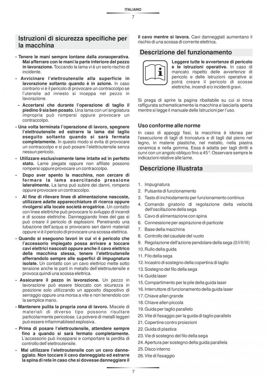 Pagina 12 - Fierastraie electrice - Manual utilizare STAYER S 110PE, JS 80 PE Instructiuni montaj,...