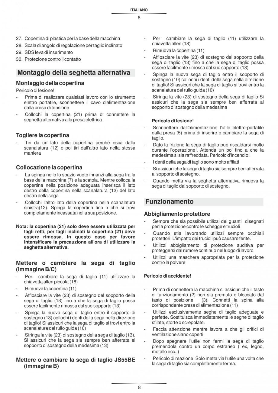 Pagina 13 - Fierastraie electrice - Manual utilizare STAYER S 110PE, JS 80 PE Instructiuni montaj,...