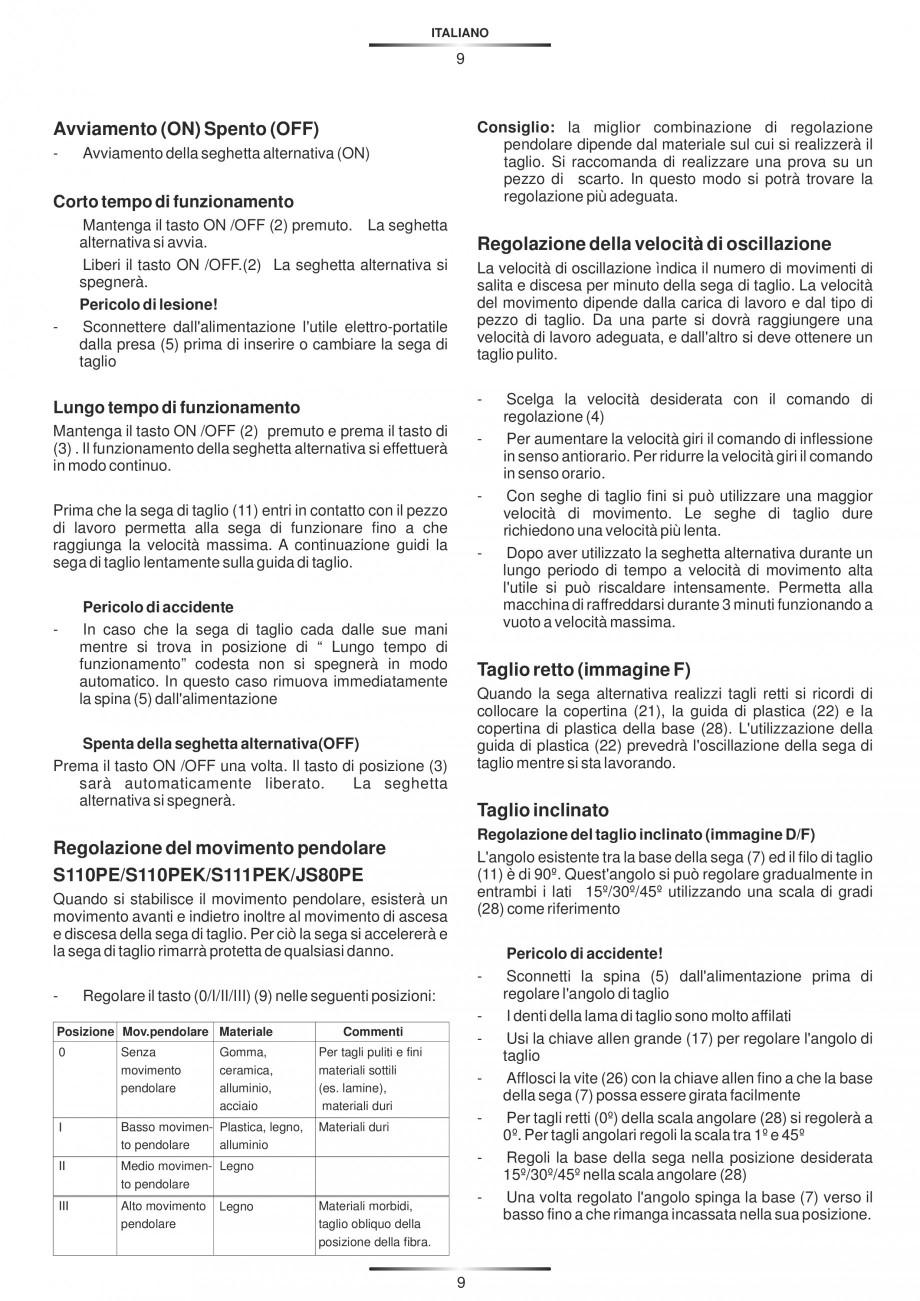 Pagina 14 - Fierastraie electrice - Manual utilizare STAYER S 110PE, JS 80 PE Instructiuni montaj,...