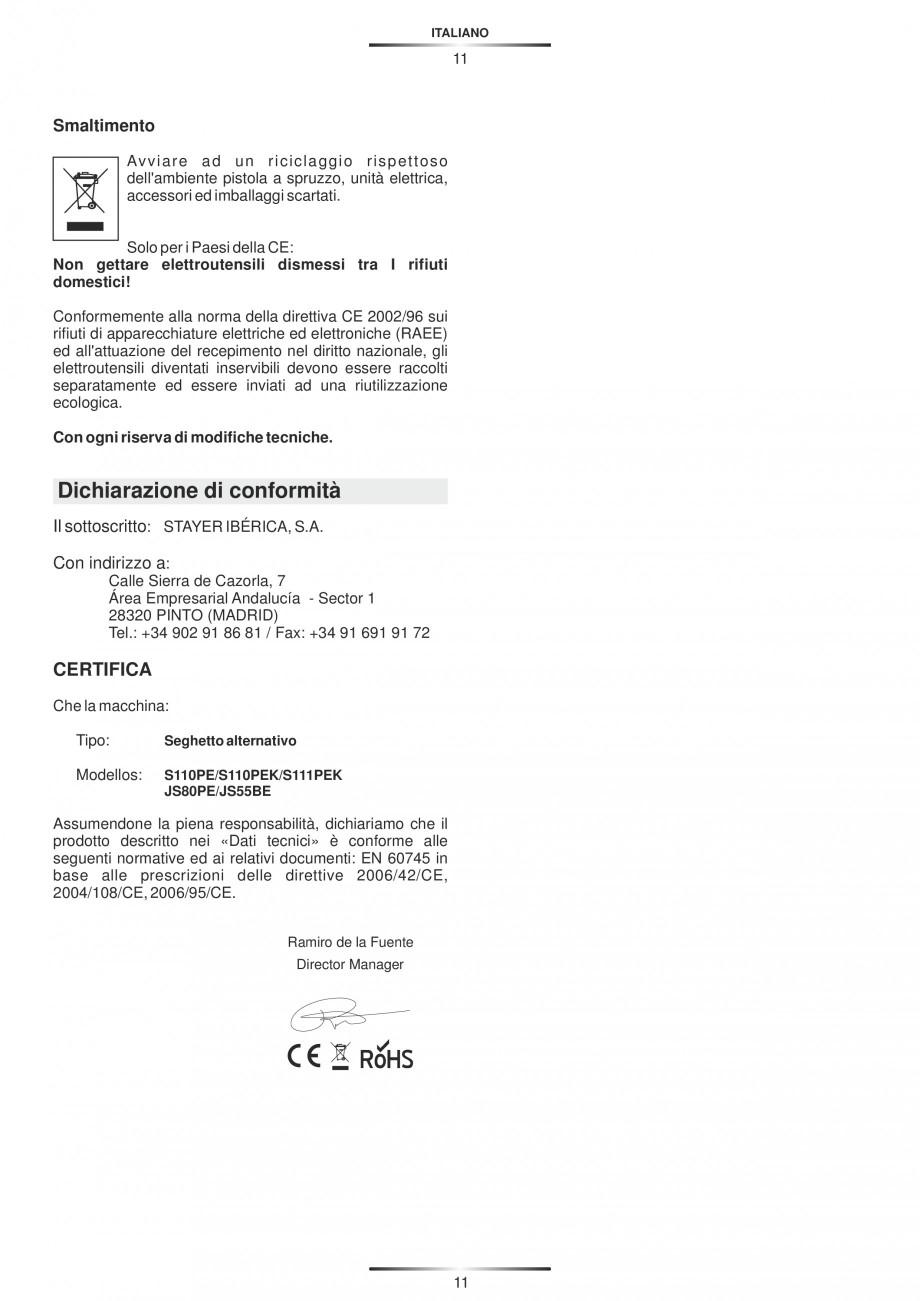 Pagina 16 - Fierastraie electrice - Manual utilizare STAYER S 110PE, JS 80 PE Instructiuni montaj,...