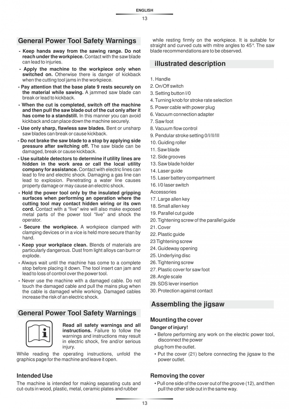 Pagina 18 - Fierastraie electrice - Manual utilizare STAYER S 110PE, JS 80 PE Instructiuni montaj,...