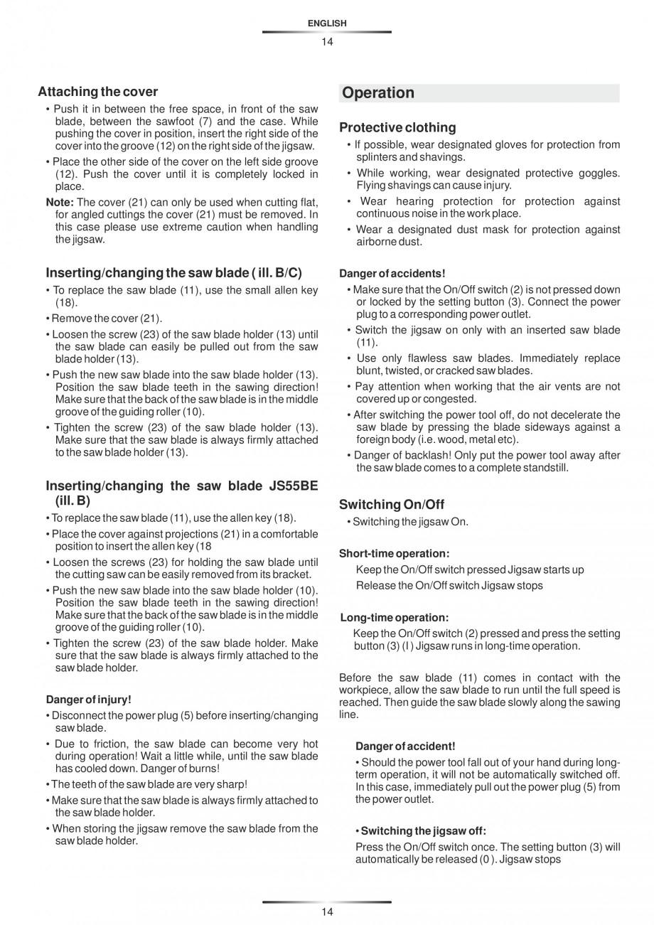 Pagina 19 - Fierastraie electrice - Manual utilizare STAYER S 110PE, JS 80 PE Instructiuni montaj,...