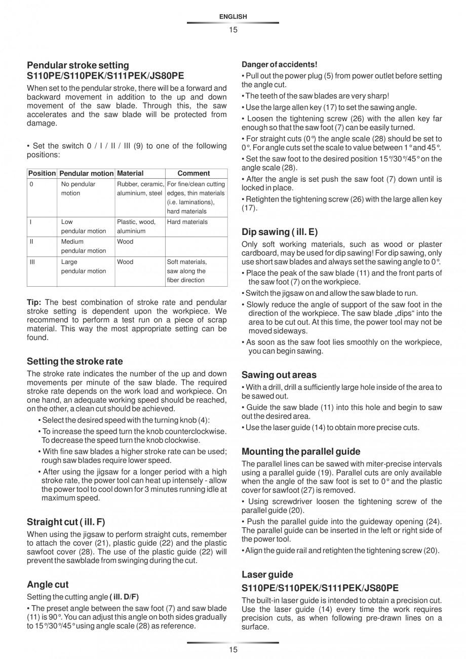 Pagina 20 - Fierastraie electrice - Manual utilizare STAYER S 110PE, JS 80 PE Instructiuni montaj,...