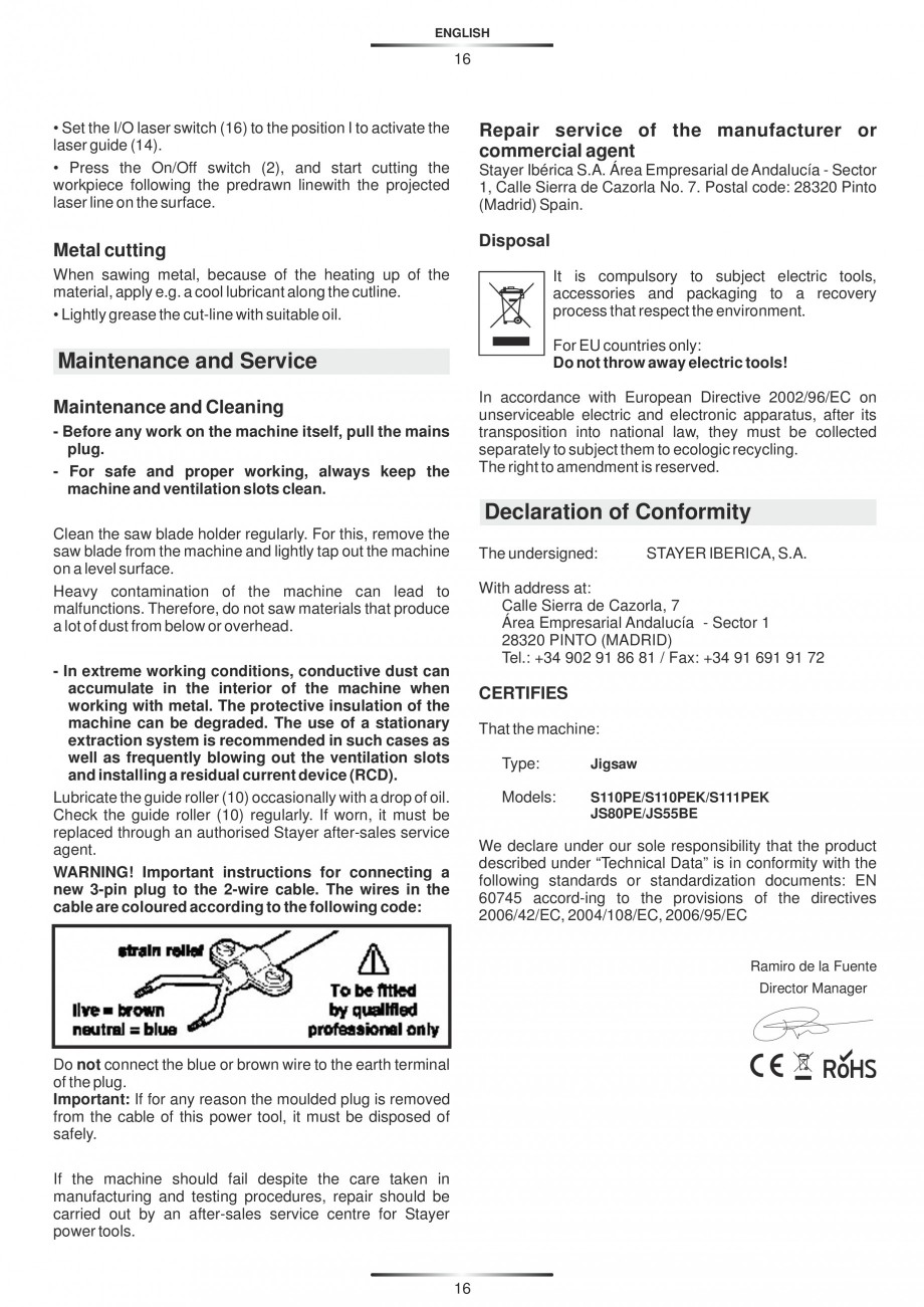 Pagina 21 - Fierastraie electrice - Manual utilizare STAYER S 110PE, JS 80 PE Instructiuni montaj,...