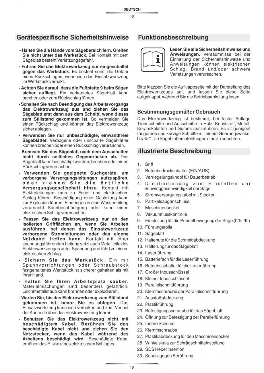 Pagina 23 - Fierastraie electrice - Manual utilizare STAYER S 110PE, JS 80 PE Instructiuni montaj,...