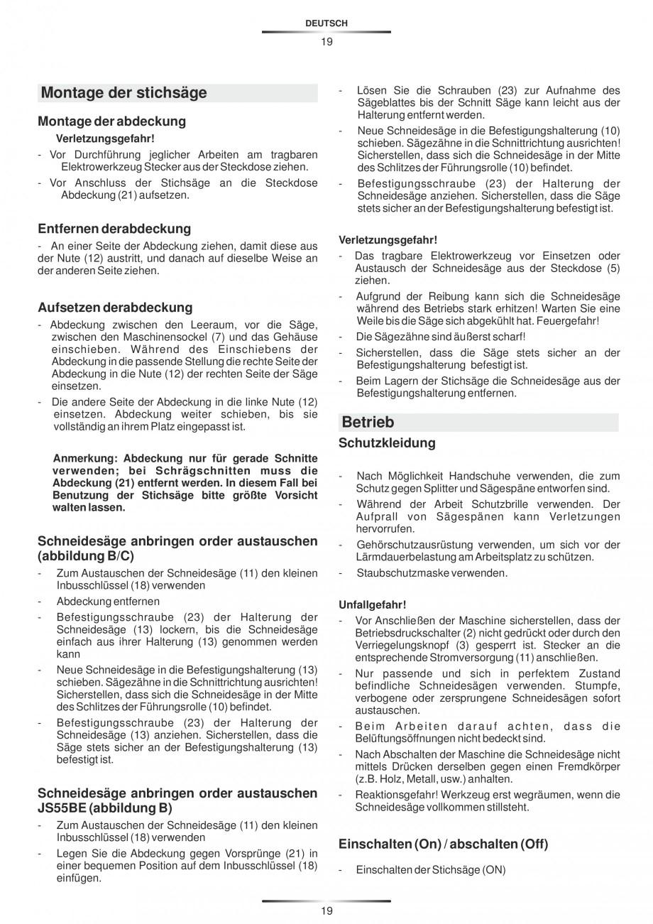 Pagina 24 - Fierastraie electrice - Manual utilizare STAYER S 110PE, JS 80 PE Instructiuni montaj,...