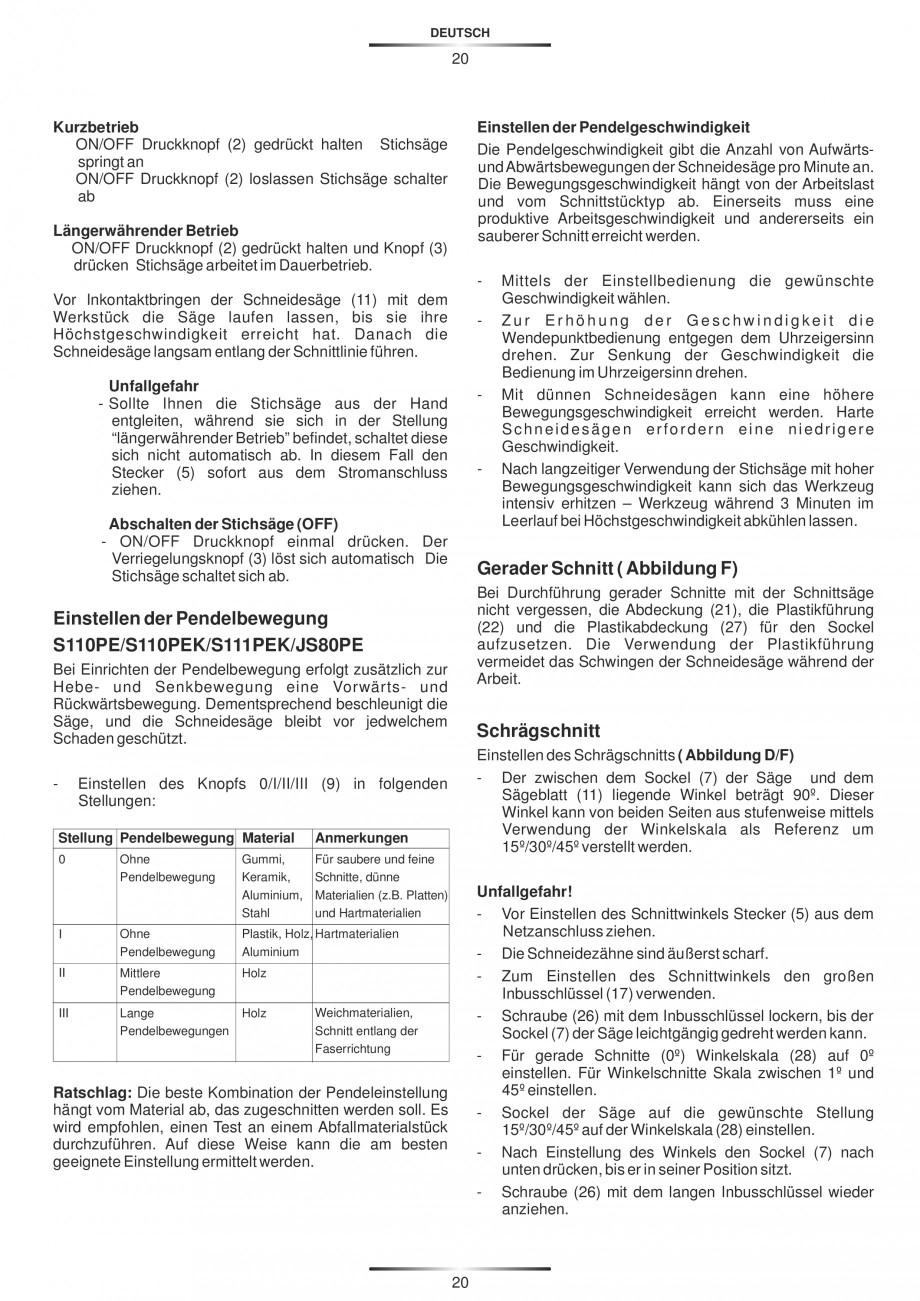 Pagina 25 - Fierastraie electrice - Manual utilizare STAYER S 110PE, JS 80 PE Instructiuni montaj,...